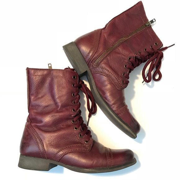 2eb382f0ae8 Steve Madden Troopa Wine Color Combat Boots